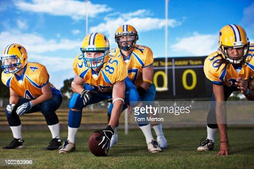 Football players preparing to play football