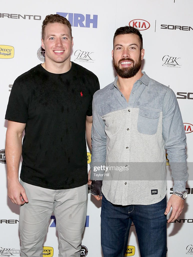 Football players Scott Solomon and Andrew Sendejo attend day one of the Kia Luxury Lounge presented by ZIRH at Scottsdale Center for Performing Arts...