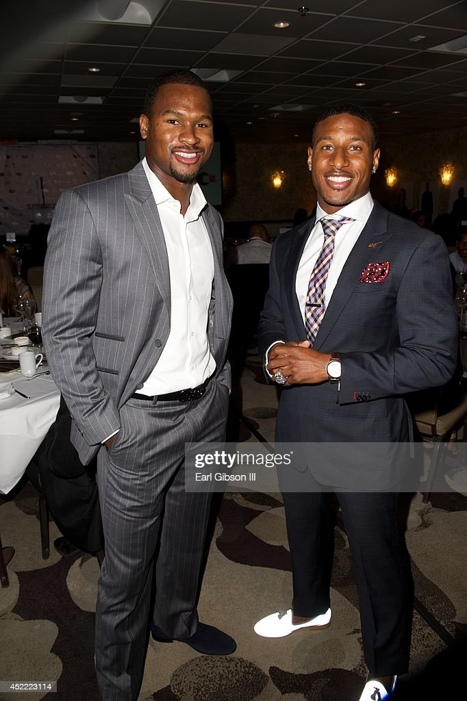 Football Players Troy Nolan and Justin Tryon attend the 3rd Annual Champions For Choice In Education PreESPY Event on July 15 2014 in Los Angeles...