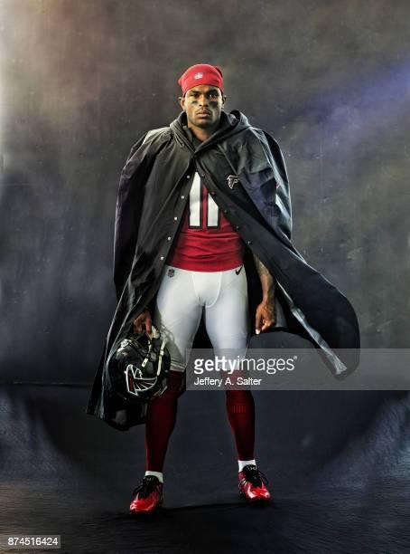 Portrait of Atlanta Falcons wide receiver Julio Jones posing during photo shoot at Atlanta Falcons Practice Facility Cover Flowery Branch GA CREDIT...
