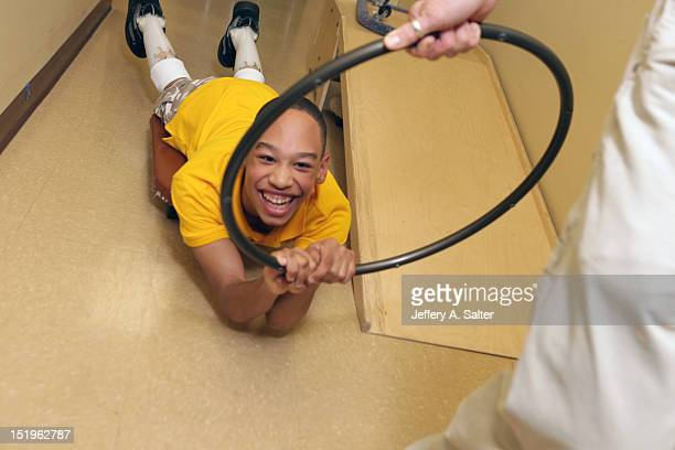 Portrait of Chancellor Lee Adams during physical therapy Adams the son of former Carolina Panthers wide receiver Rae Carruth and his girlfriend...