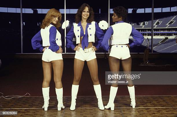 Portrait of Dallas Cowboys cheerleaders during tryouts at Texas Stadium Irving TX 5/13/1978 CREDIT Walter Iooss Jr
