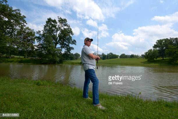 Portrait of Minnesota Vikings head coach Mike Zimmer fishing during photo shoot at home Walton KY CREDIT Bill Frakes