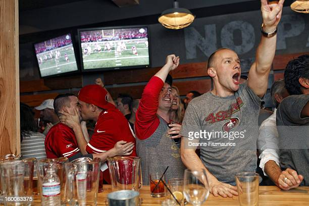 Portrait of San Francisco 49ers fans watching the NFC Championship game at Hi Tops in the Castro District Hi Tops is the city's first official gay...