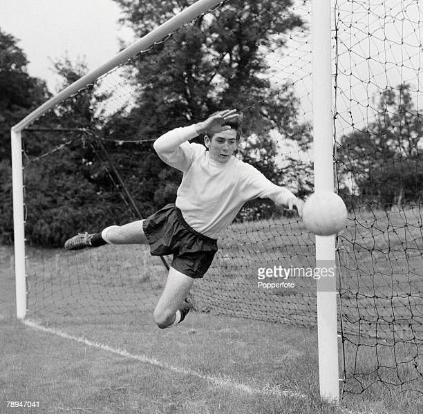 Football Pre Season training Tottenham Hotspur's goalkeeper Pat Jennings dives to stop the ball during practice session