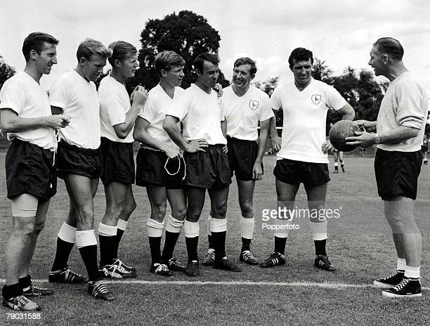 Football PreSeason photocall 2nd August Tottenham Hotspur players listen to their manager Bill Nicholson during a break in preseason training