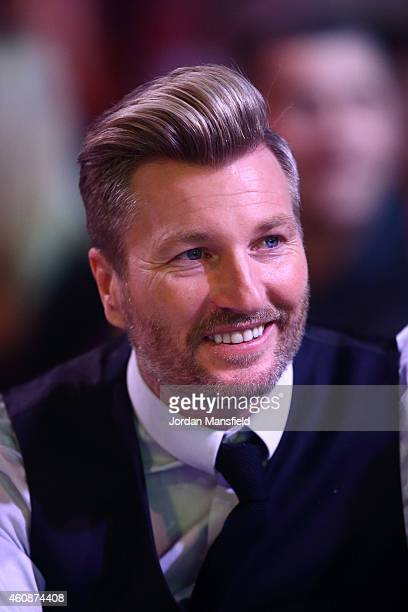 Football pundit Robbie Savage attends Day Eight of the William Hill PDC World Darts Championships at Alexandra Palace on December 28 2014 in London...