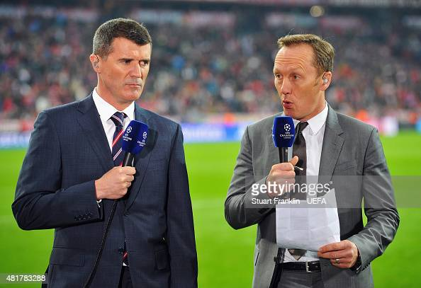 ITV football pundits Roy Keane and Lee Dixon cover the UEFA Champions League Semi Final second leg match between FC Bayern Muenchen and Real Madrid...