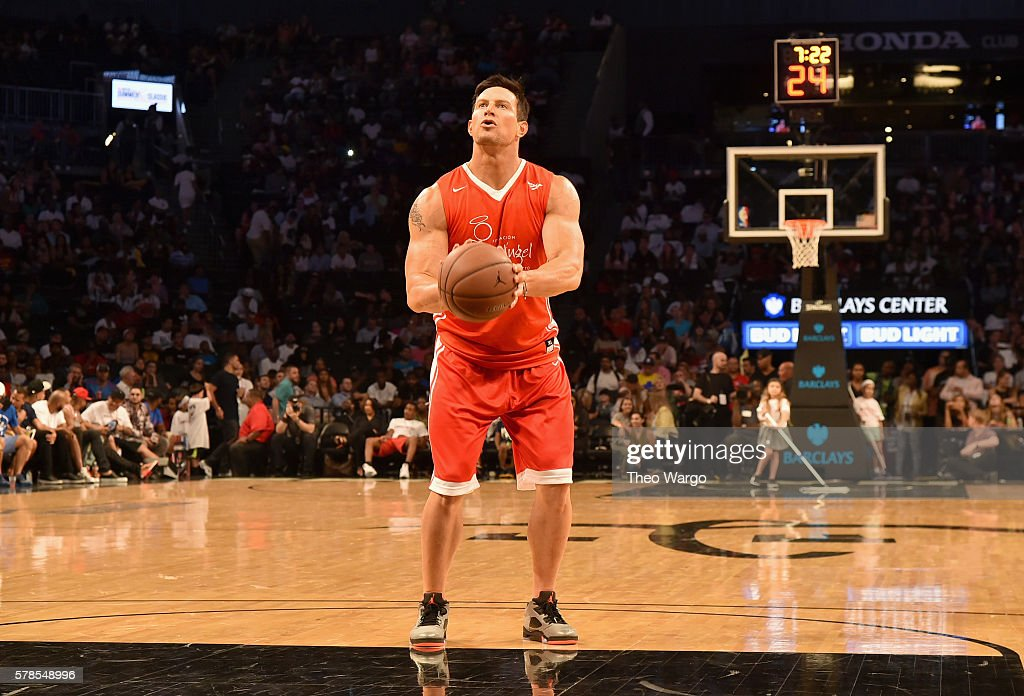 Football punter Steve Weatherford participates in the Roc Nation Summer Classic Charity Basketball Tournament at Barclays Center of Brooklyn on July...