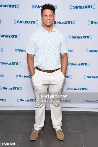 Football quarterback and NFL draft prospect Patrick Mahomes visits SiriusXM Studios on April 25 2017 in New York City