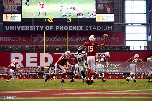 Rear view of Arizona Cardinals QB John Skelton in action passing vs Seattle Seahawks at University of Phoenix Stadium Glendale AZ CREDIT John W...