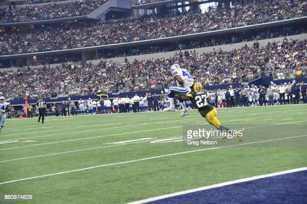Rear view of Dallas Cowboys Rod Smith in action making catch vs Green Bay Packers Josh Jones at ATT Stadium Arlington TX CREDIT Greg Nelson