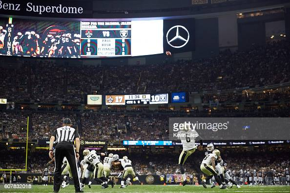 Rear view of New Orleans Saints Thomas Morstead in action punting vs Oakland Raiders at MercedesBenz Superdome New Orleans LA CREDIT Kevin Liles