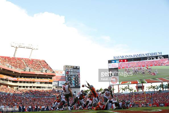 Rear view of Tampa Bay Buccaneeers Bryan Anger in action punting vs Denver Broncos at Raymond James Stadium Tampa FL CREDIT Kevin Liles