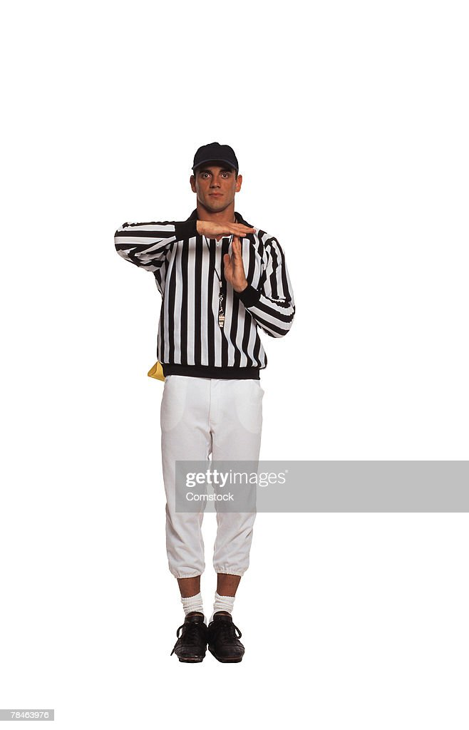 Football referee calling a time out