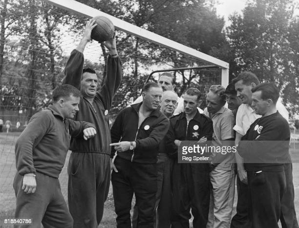 Football referee Reg Leafe instructs a class of referees during a Football Association course at Crystal Palace London 19th August 1965