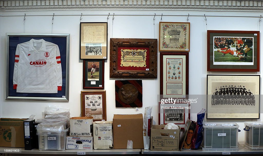 Football related memorabilia is displayed at Sotheby's on November 6, 2012 in London, England. Graham Budd auctioneers are holding a two day sale of Sporting Memorabilia at Sotheby's in London on 5-6th November 2012.