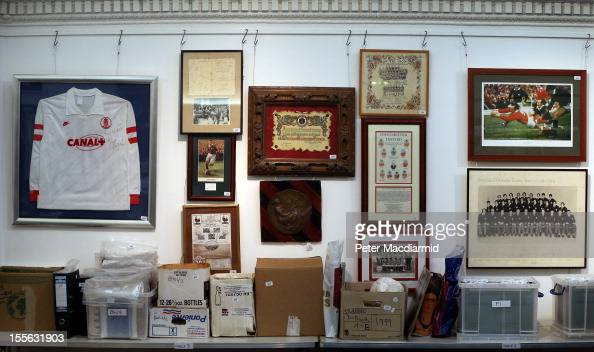 Football related memorabilia is displayed at Sotheby's on November 6 2012 in London England Graham Budd auctioneers are holding a two day sale of...