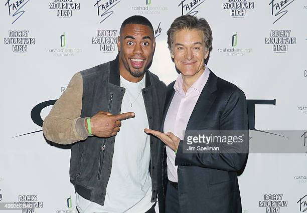 Football running back Rashad Jennings and TV personality Dr Oz attend the 2015 Giant Night of Comedy at Gotham Comedy Club on November 30 2015 in New...