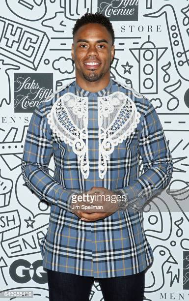 Football running back Rashad Jennings attends the Saks Downtown Men's opening at Saks Downtown Men's on February 22 2017 in New York City