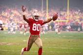 Football San Francisco 49ers Jerry Rice victorious after scoring TD during game San Francisco CA 1/1/1992