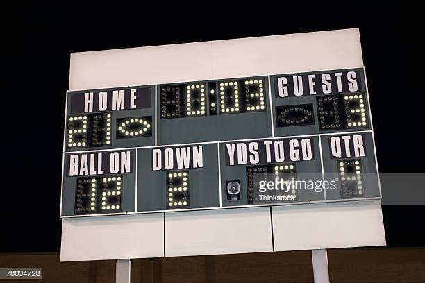 Football scoreboard at night