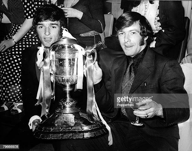 Football Scotland 9th May Celtic players Lou Macari and John Dean pose with the Scottish FA Cup trophy after defeating Hibernian 61 in the Final