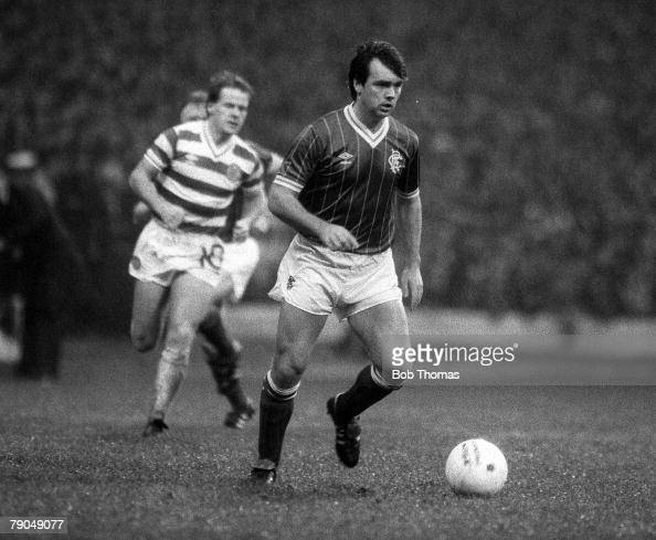 Football Scottish Premier Division Glasgow Scotland Celtic 3 v Rangers 2 30th October 1982 Rangers' Davie Cooper during the Auld Firm match