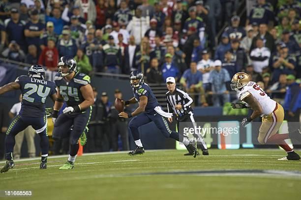 Seattle Seahawks QB Russell Wilson in action vs San Francisco 49ers at CenturyLink Field Seattle WA CREDIT Rod Mar