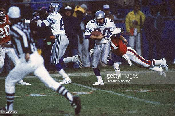 Football Seattle Seahawks Steve Largent in action vs Denver Broncos Denver CO