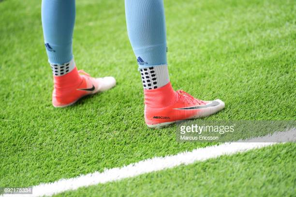 Football shoes of Djurgardens IF ahead of the Allsvenskan match between Hammarby IF and Djurgardens IF at Tele2 Arena on June 4 2017 in Stockholm...