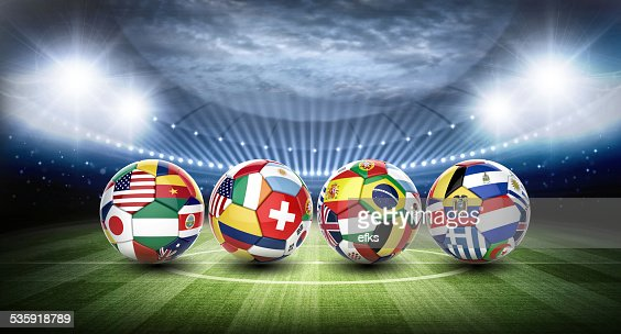 football soccer ball with nations teams flags : Stock Photo