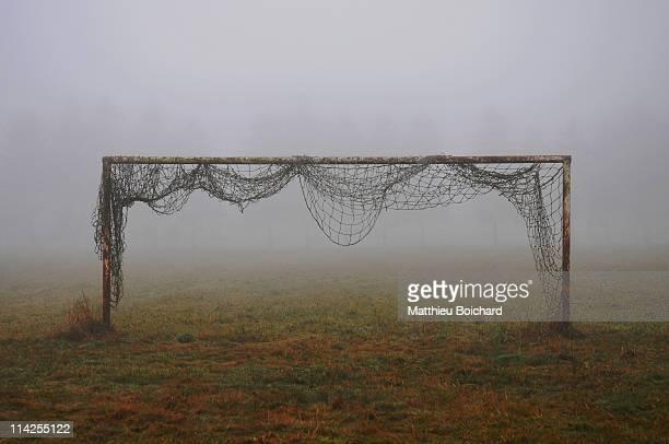 Football  soccer goal in mist