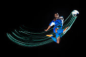 Football/ soccer player with lighttrace