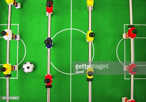 Football soccer table game. Team building play : Stock Photo