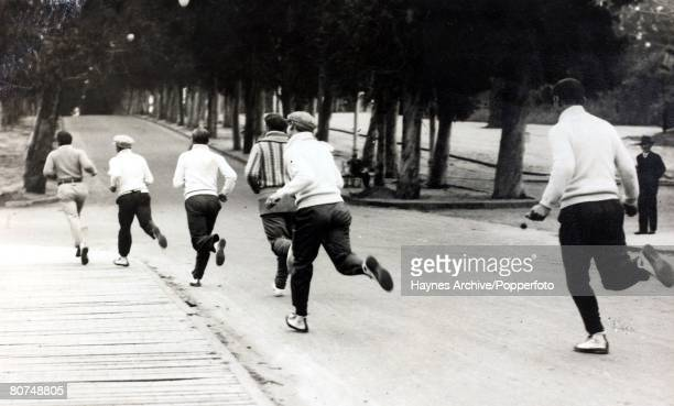 Football South America A picture of some Argentine footballers out for a training run during the 1930 World cup finals in Uruguay