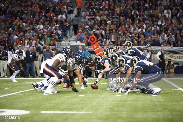 St Louis Rams offensive line lined up at line of scrimmage before snap vs Chicago Bears defensive line at Edward Jones Dome St Louis MO CREDIT David...