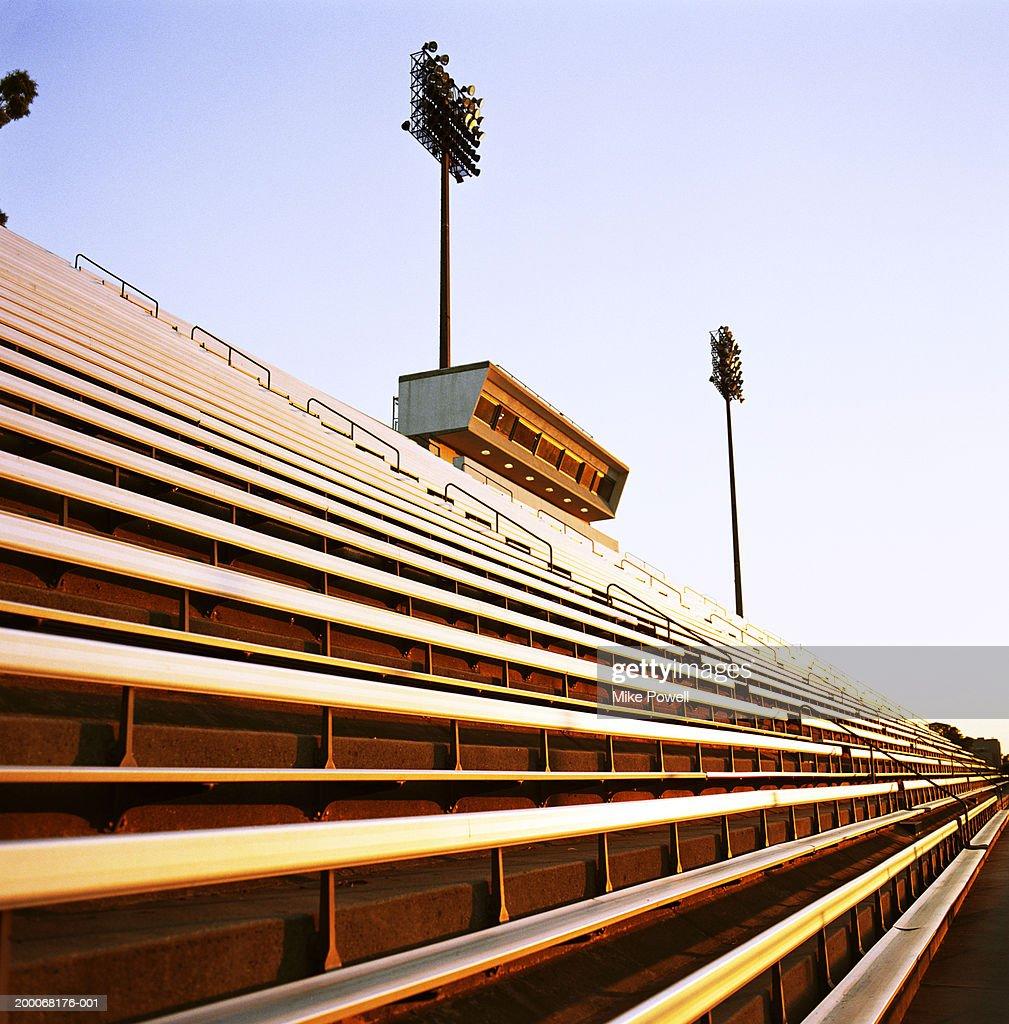 Football stadium bleachers : Stock Photo