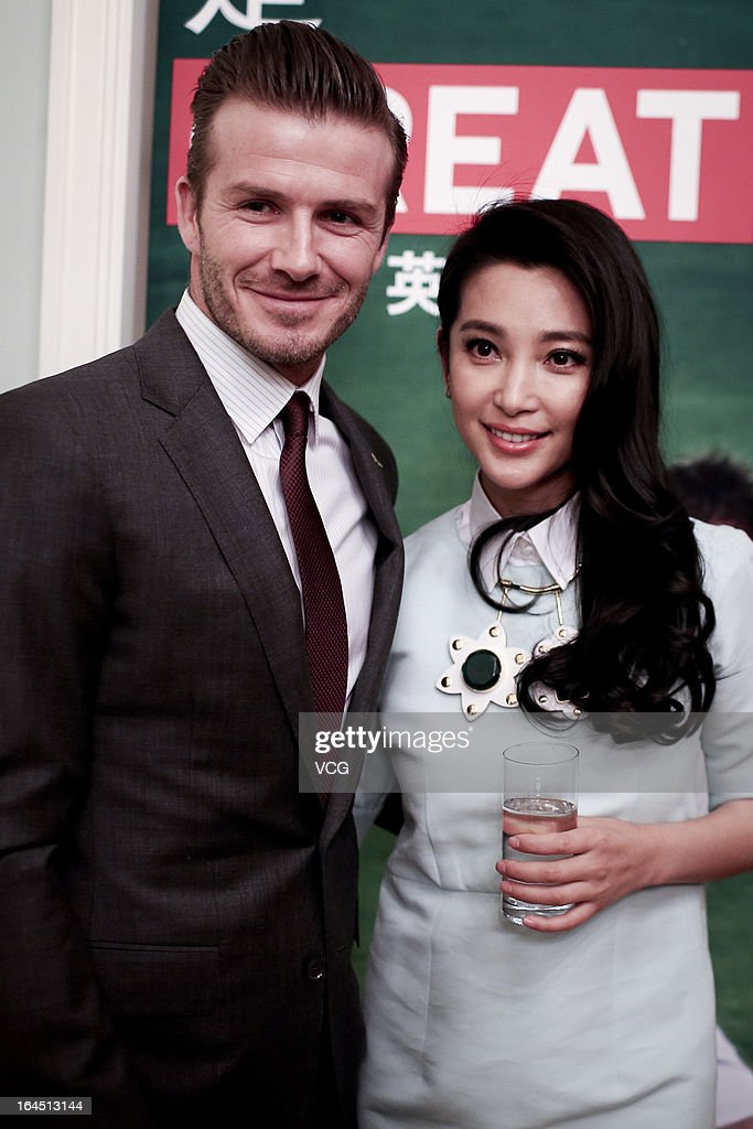 Football star David Beckham and Chinese actress Li Bingbing visit the British Embassy on March 24, 2013 in Beijing, China.