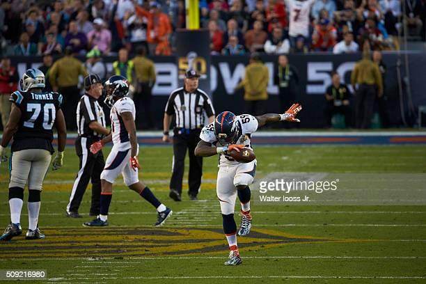 Super Bowl 50 Denver Broncos Danny Trevathan victorious in dab pose on field during game vs Carolina Panthers at Levi's Stadium Santa Clara CA CREDIT...