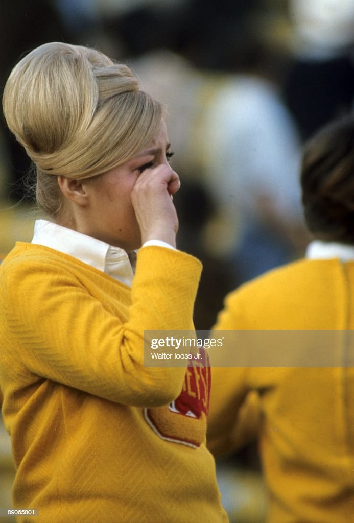 Kansas City Chiefs cheerleader crying during game vs Green Bay Packers. Los Angeles, CA 1/15/1967