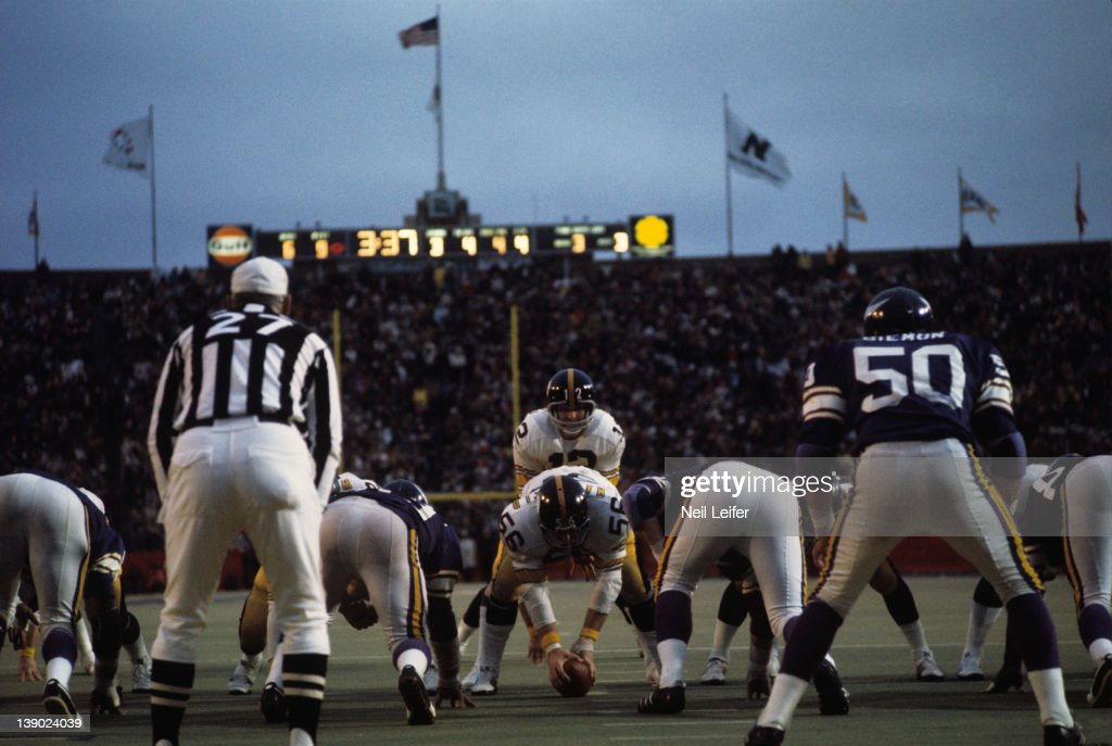 Super Bowl IX Pittsburgh Steelers QB Terry Bradshaw lined up under Ray Mansfield during game vs Minnesota Vikings at Tulane StadiumNew Orleans LA...