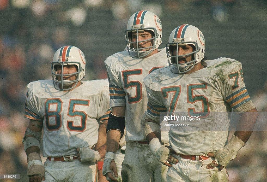 Super Bowl VII, Miami Dolphins Nick Buoniconti (85), Doug Swift (59), and Manny Fernandez (75) during game vs Washington Redskins, Los Angeles, CA 1/14/1973