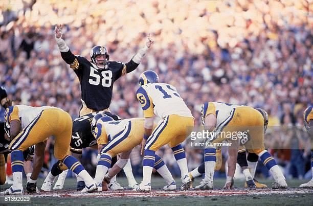 Football Super Bowl XIV Pittsburgh Steelers Jack Lambert in action vs St Louis Rams QB Vince Ferragamo Pasadena CA 1/20/1980