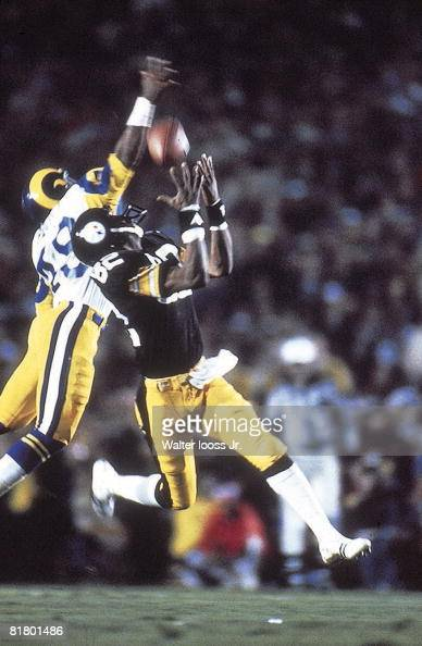 Football Super Bowl XIV Pittsburgh Steelers John Stallworth in action making game winning TD catch vs Los Angeles Rams Rod Perry Cover Pasadena CA...