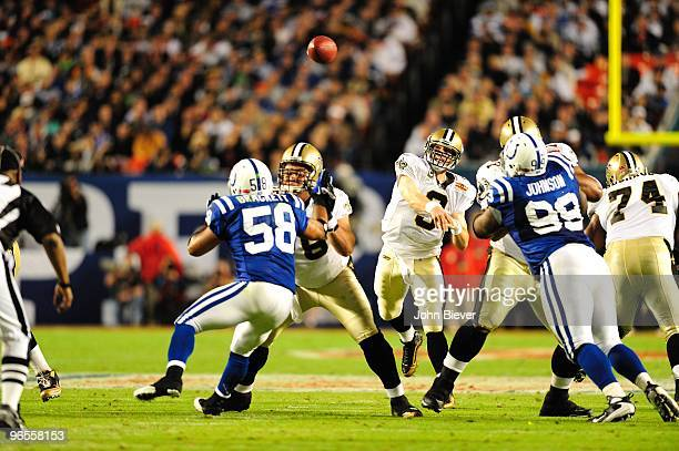 Super Bowl XLIV New Orleans Saints QB Drew Brees in action pass vs Indianapolis Colts Miami FL 2/7/2010 CREDIT John Biever