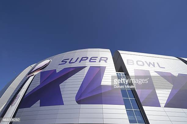Super Bowl XLIX Closeup of stadium exterior before Seattle Seahawks vs New England Patriots game at University of Phoenix Stadium Glendale AZ...