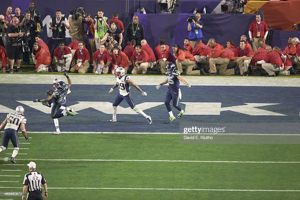 Super Bowl XLIX New England Patriots Malcolm Butler in action making interception on goalline vs Seattle Seahawks QB Russell Wilson during final...