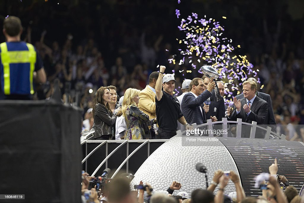 Baltimore Ravens head coach John Harbaugh and owner Steve Bisciotti victorious with Vince Lombardi Trophy after winning game vs San Francisco 49ers at Mercedes-Benz Superdome. Peter Read Miller F315 )