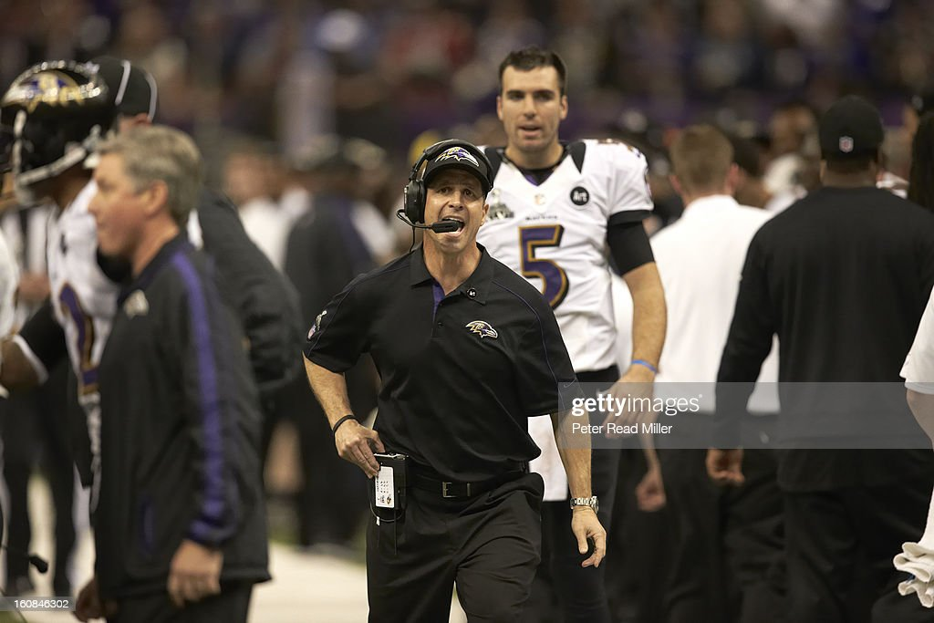 Baltimore Ravens head coach John Harbaugh on sidelines during game vs San Francisco 49ers at Mercedes-Benz Superdome. View of QB Joe Flacco (5). Peter Read Miller F142 )